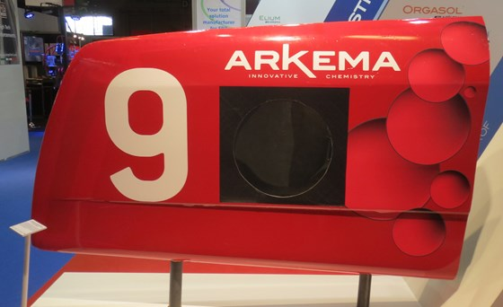 Arkema presented a part of the bow of a lateral float of the Arkema trimaran.