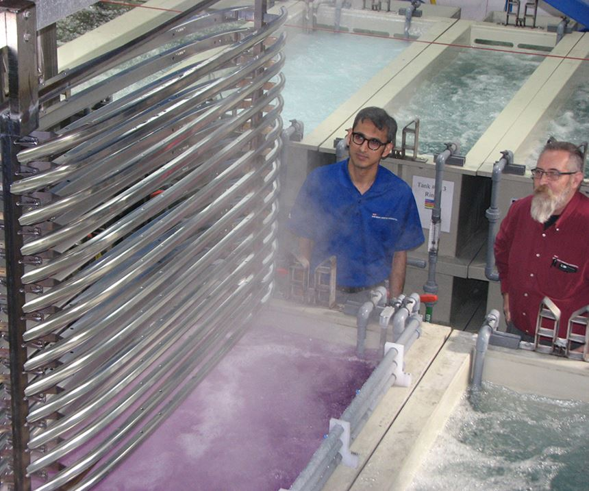 Arlington Plating Co.'s automated aluminum anodizing operation, recently completed in January, has been approved by General Motors.