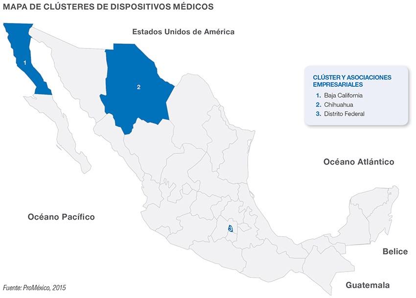 Mapa de clústeres de dispositivos médicos en México.