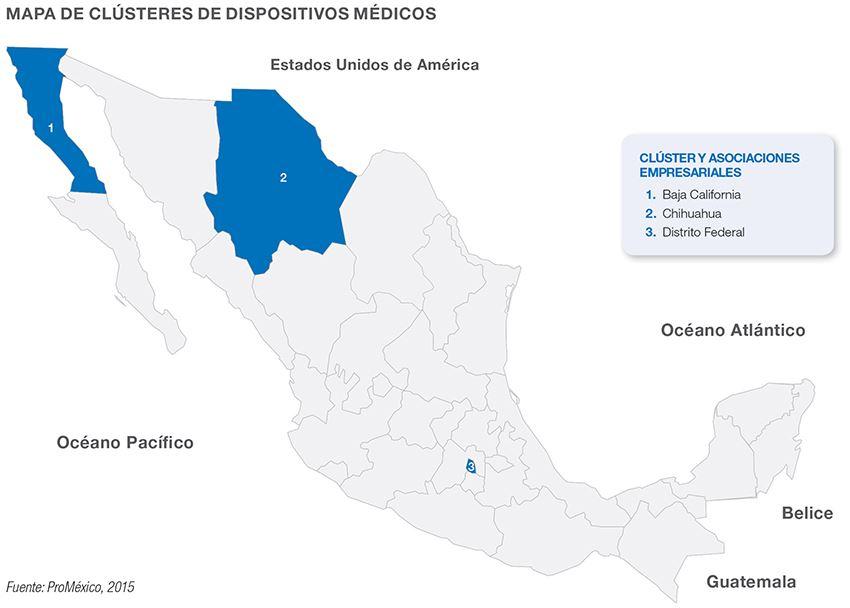 Mapa de clusteres de dispositivos medicos en Mexico