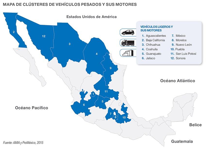 Mapa de clústeres de vehiculos pesados en México.