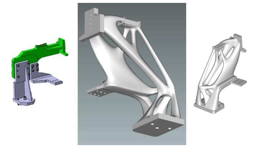 Original and redesigned clamping unit