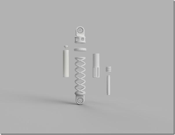 Das Besondere an dem Stoßdämpfer ist neben seiner hohen Funktionalität die Fertigung einzelner Teile aus Polycarbonat-Filament, pulverförmigem thermoplastischem Polyurethan (TPU) bzw. flüssigem Polyurethanharz und mit Hilfe von drei verschiedenen 3D-Druck-Verfahren. --------------- In addition to its high degree of functionality, the unique feature of the shock absorber is the production of individual parts from polycarbonate filament, powdered thermoplastic polyurethane (TPU) and a liquid polyurethane resin with the aid of three different 3D printing processes
