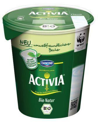 Danone Activia yogurt in a PLA cup