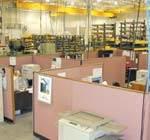 desks on the production floor