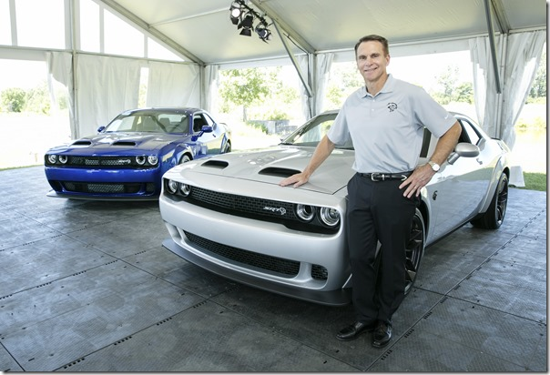 FCA Head of Passenger Car Brands Steve Beahm, Dodge, SRT, Chrysler and Fiat, unveiled the new 2019 Dodge Challenger SRT Hellcat Redeye (right) and the 2019 Dodge Charger SRT Hellcat Widebody (left) at the Chrysler Proving Grounds in Chelsea, Mich., today.  Featuring a Hellcat 797-horsepower supercharged HEMI® high-output engine, Challenger Hellcat Redeye joins the most powerful SRT Hellcat lineup ever.
