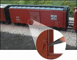 Door latch and handle on model boxcar