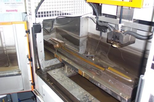 Wire EDM unit modified for wide workpieces