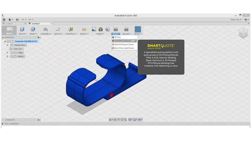 Autodesk Fusion 360 with Smart Quote screenshot