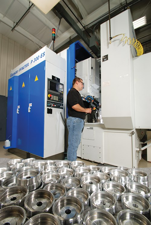 Machine tools on the FCG shop floor have been designated for each value stream, making it easier to forecast what equipment will be available for the two types of custom gear work.