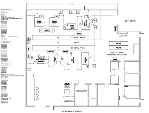 This layout illustrates what FCG's new Roscoe Works cellular manufacturing network will look like upon completion in 2015.