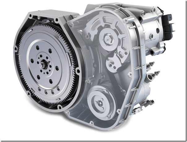 The GTC II's electric motor is   integrated in the drive train by   means of a belt that runs   between the internal   combustion engine and the   transmission. Two clutches,   one upstream and one   downstream of the belt, allow   the internal combustion   engine to be completely   decoupled when required.   The electric motor can then   be used independently of the   ICE.