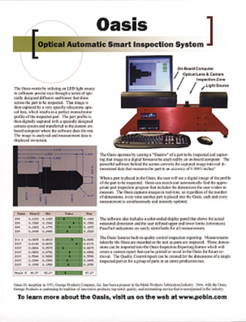 Oasis inspection system literature