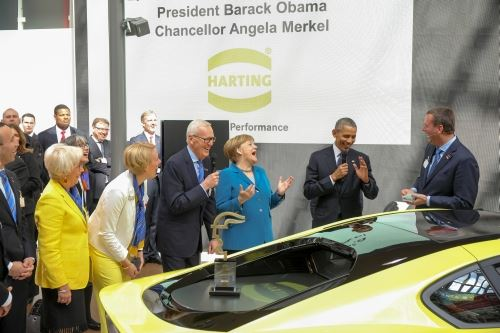 Obama and Merkel at Harting booth