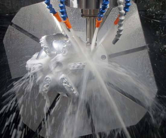 Five-axis machining of aluminum drill bit body on the XF6300