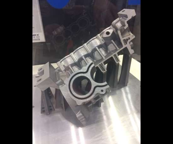 cutaway eight-cylinder engine block