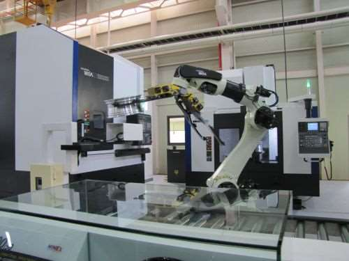 hree-machine cell with robotic part handling