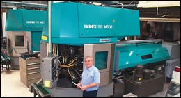 Ian Sheldon with Index S32 CNC multi-spindle screw machines
