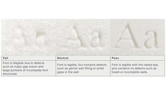 Recessed serif pass/fail
