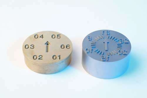 Plastic die for date stamping