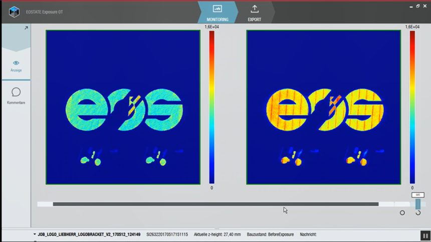 A screenshot from EOState's Exposure OT optical tomography monitoring system during the build process.