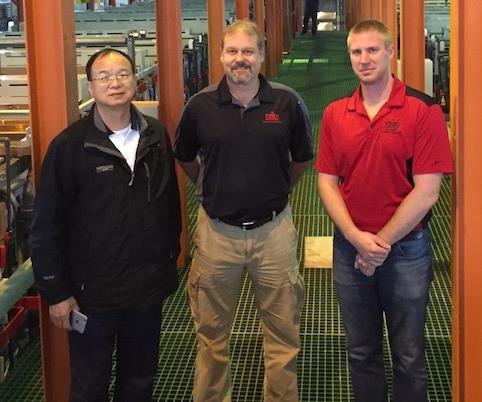 PC Lee owner of PAT, Chris Burger, and Jeff Stone from KC Jones at the factory acceptance testing
