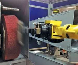 A nonwoven, very fine finishing flap wheel used on a robot installation.