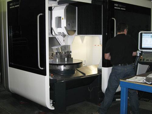 Linear-motor five-axis machine, outside
