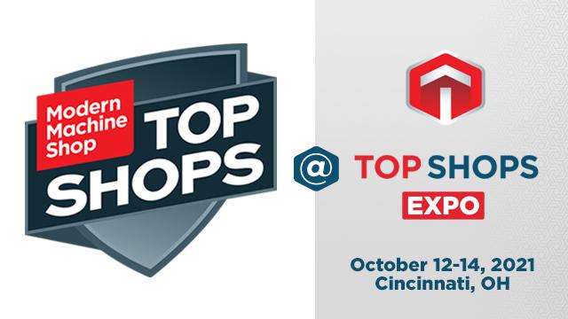 The logo for Modern Machine Shop's 2021 Top Shops Expo in Cincinnati, Ohio