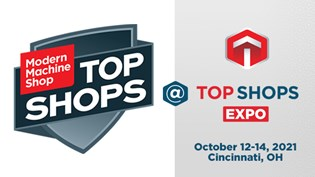 The logo for Modern Machine Shop's 2021 Top Shops Expo in Cincinnati, Ohio