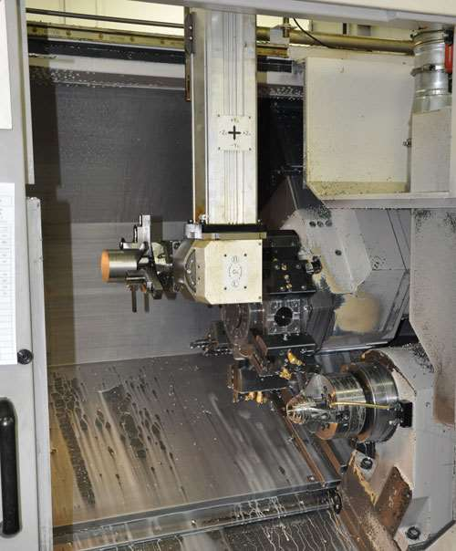 gantry-loaded, two-spindle Doosan machine