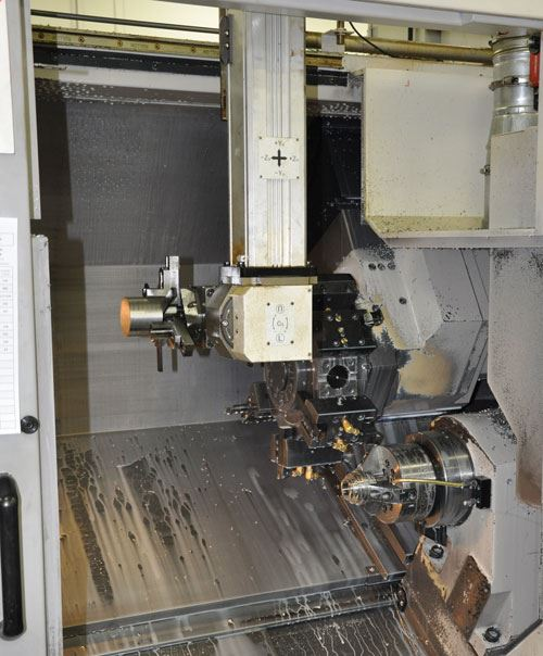 gantry-loaded, two-spindle Doosan machine