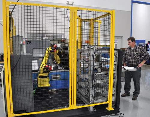 robot-tended lathe