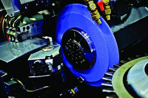The grains on 3M Abrasive Systems' 3M Cubitron II gear grinding wheels continuously fracture as they wear, forming sharp points and edges for consistent performance.