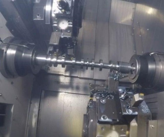 machine interior with camshaft