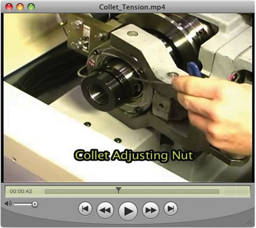 Training video for swiss-type lathe
