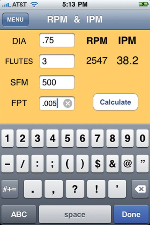 Machining app for iphone