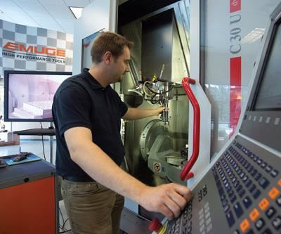 Operator at Hermle five-axis VMC