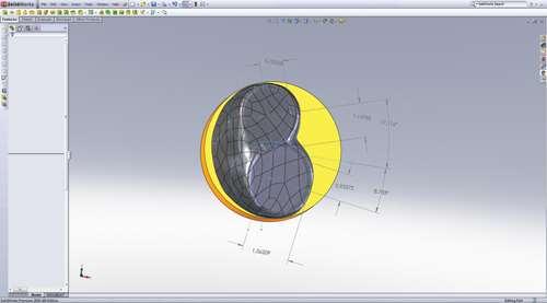 CAD model of a piston dome