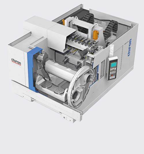 Chiron's 26 series horizontal machining centers accommodate large workpieces such as gear housings and structural components for the aerospace and automotive industries. Bridge dimensions range from 1,250 to 3,000 mm within the series, which is the company's first range of HMCs.
