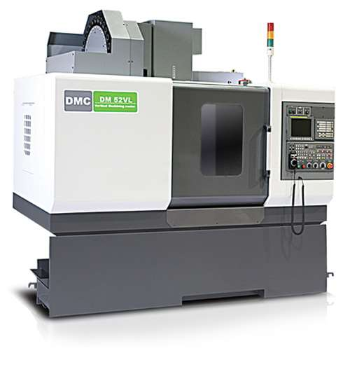 "DMC Machine Tools' DM V series of vertical machining centers features a belt-type spindle providing speeds as fast as 8,000 rpm. The DM 52VL model, pictured here, accommodates workpieces ranging to 1,543 lbs on a 43.31"" × 20.47"" worktable."