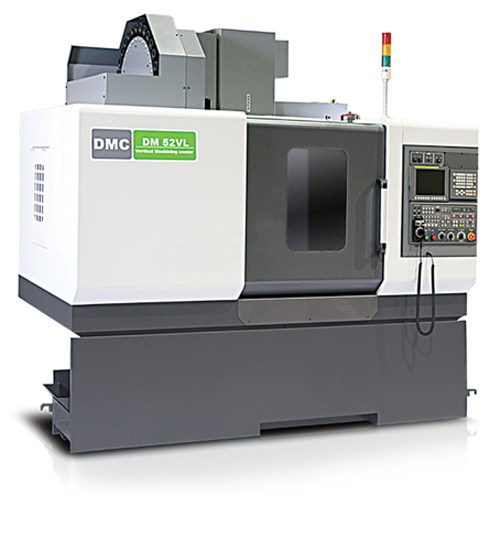 DMC Machine Tools' DM V series of vertical machining centers features a belt-type spindle providing speeds as fast as 8,000 rpm. The DM 52VL model, pictured here, accommodates workpieces ranging to 1,543 lbs on a 43.31