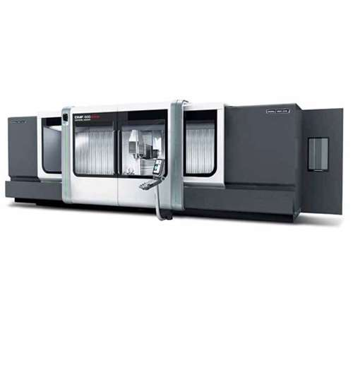 Designed for aerospace applications, DMG Mori Seiki's DMF 600 linear traveling-column machining center has X-, Y- and Z-axis travels measuring 6,000 × 1,100 × 900 mm. It can accommodate workpieces weighing as much as 10 tons.