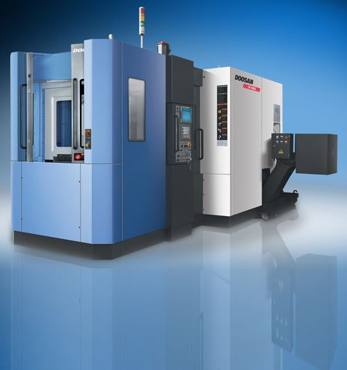 The HC 400 horizontal machining center from Doosan features a telescopic cover inclined at a 30-degree angle to direct chips into a trough, keeping the area around the table clean. High-velocity air jets clear the chips while the machine's APC changes the pallets.