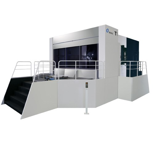 The T1 five-axis horizontal machining center from Makino features an A/B-axis configuration that shifts A-axis motion to the spindle side. According to the company, this setup eliminates the need to tilt the workpiece and helps to ensure accuracy regardless of the rotary axis position.