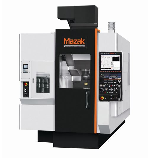 Mazak's Variaxis j-500 5X vertical machining center provides simultaneous five-axis and multitasking capabilities. It is said to enable efficient single-machine part processing for aerospace components and other applications.