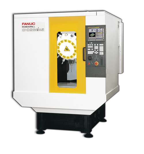 Available from Methods Machine Tools, the FANUC D21 RoboDrill vertical machining center is equipped with the FANUC 31iB control for FSSB high-speed processing. The D21MiA, pictured, features a medium-sized bed and is one of four available variations.