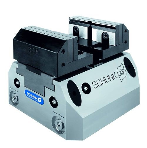 Schunk's Tandem KSP+64 pneumatic self-centering vise achieves repeat accuracy of 0.01 mm