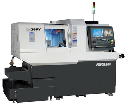 Nexturn's P series SA 38PY Swiss-type lathe (available from Absolute Machine Tools) offers eight axes and 38-mm front and rear bar capacity. The lathe's guide bushing can be removed to enable the use of less-expensive cold-drawn barstock and minimize the size of bar remnants left after machining.