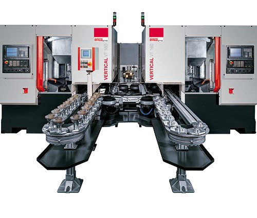 Emco Maier offers both right- and left-hand versions of its VT 160 Duo vertical pick-up turning centers. Two of the machines can be placed side by side in a turning cell, as shown here, and linked with a conveyor for automated workpiece transfer.